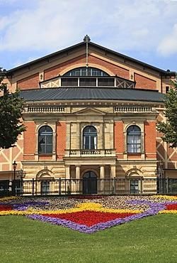 Bayreuth Festspielhaus or Bayreuth Festival Theatre, Richard Wagner Festival Hall, facade, 2010, on Green Hill, Bayreuth, Upper Franconia, Bavaria, Germany, Europe