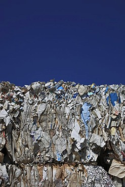 Used paper, stacks of used paper at a recycling yard, paper recycling
