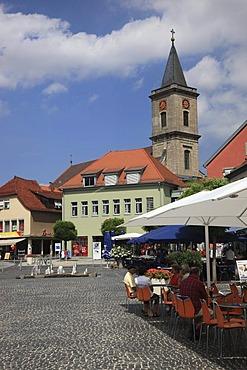 Market place and Pfarrkirche Mariae Himmelfahrt parish church of the Assumption, Bad Neustadt an der Saale, Landkreis Rhoen-Grabfeld district, Lower Franconia, Bavaria, Germany, Europe