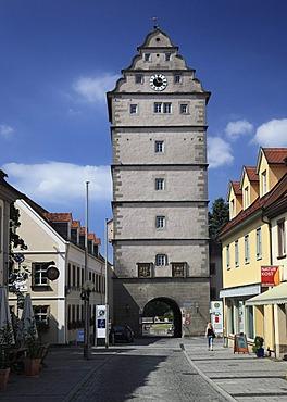 Hohntor gate tower, Bad Neustadt an der Saale, Landkreis Rhoen-Grabfeld district, Lower Franconia, Bavaria, Germany, Europe