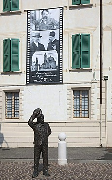 Monument to the movie character Giuseppe Bottazzi called Peppone, Brescello in front of the city hall, Emilia Romagna, Italy, Europe