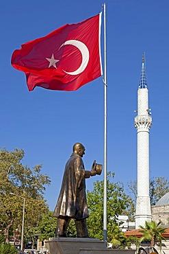 Ataturk statue, minaret, flag, Dalyan, Dalyan Delta, Turkish Aegean, Turkey