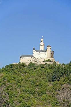 Marksburg castle at Braubach, UNESCO World Heritage Site Oberes Mittelrheintal Rhine Valley, Rhineland-Palatinate, Germany, Europe