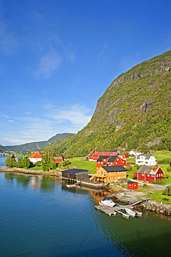 Colourful wooden houses at Sognefjord at Sogndal, Norway, Scandinavia, Europe