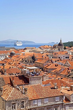 View from the city wall across the historic town of Dubrovnik from the town wall, Southern Dalmatia, Adriatic Coast, Croatia, Europe