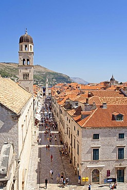 Main boulevard Stradun in the historic town of Dubrovnik, Southern Dalmatia, Adriatic Coast, Croatia, Europe