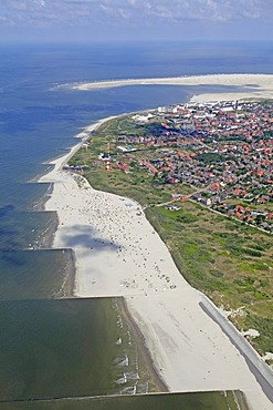 Aerial view, Borkum Island, an East Frisian Island, Eastern Friesland, Lower Saxony, Germany, Europe