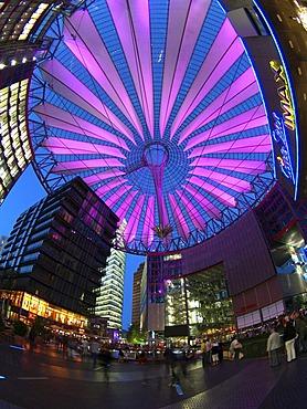 Illuminated roof, Sony Center, Berlin, Germany, Europe