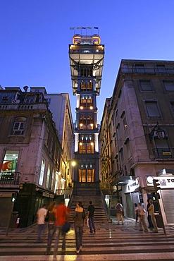 Illuminated Santa Justa Lift at Night, Elevador de Santa Justa, Rua Aurea, Lisbon, Portugal, Europe