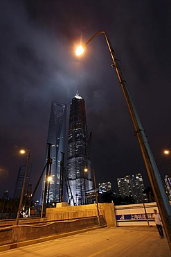 Building site, Pudong, Lujiazui financial district, Shanghai, China, Asia