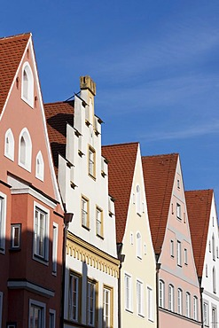 Houses in the Ludwigstrasse street, Landsberg am Lech, Bavaria, Germany, Europe