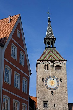 Schmalzturm or Schoener Turm tower, gate tower, Landsberg am Lech, Bavaria, Germany, Europe
