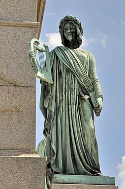 Statue on the base of the Jubilaeumssaeule column, Schlossplatz square, Stuttgart, Baden-Wuerttemberg, Germany, Europe