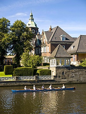 Rowing boat on the Alster in front of St. Johannis' Monastery, Hamburg, Germany, Europe