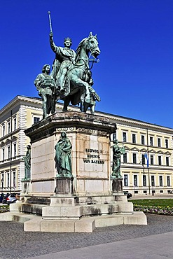 Monument to King Ludwig I, Odeonsplatz square, Munich, Bavaria, Germany, Europe