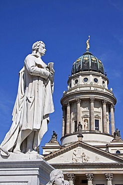 Schiller monument in front of the French Cathedral, Gendarmenmarkt, Mitte district, Berlin, Germany, Europe