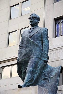 Monument to Salvador Allende, Justice Palace, Plaza de Constitucion square, Santiago de Chile, Chile, South America