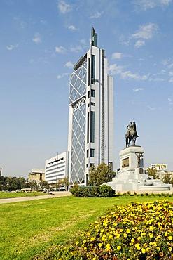 General Baquedano, monument, Plaza Baquedano, Movistar building in the form of a mobile phone, telephone company, skyscraper, Santiago de Chile, Chile, South America