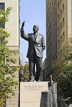 Eduardo Frei, former president, monument, Plaza Constitucion Square, Santiago de Chile, Chile, South America
