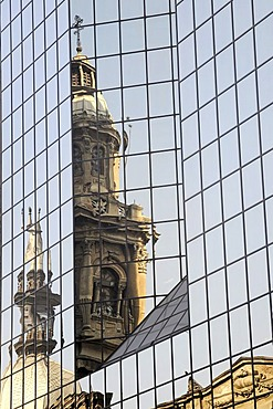Church steeple, cathedral, reflection, facade of a multistory building, Santiago de Chile, Chile, South America
