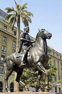 Don Pedro de Valdivia, Spanish conqueror, monument, equestrian statue, Plaza de Armas Square, Santiago de Chile, Chile, South America