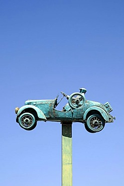 Classic car, convertible, car, sculpture, sky, Coquimbo, La Serena, Norte Chico, northern Chile, Chile, South America