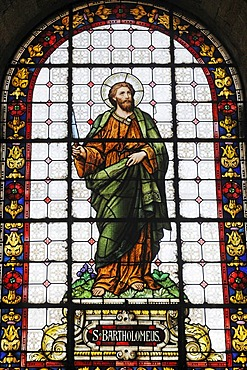 Saint Bartholomew, saint, stained glass windows, cathedral, La Serena, Norte Chico, northern Chile, Chile, South America