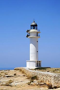 Lighthouse, cliffs, Cap de Barbaria, Formentera, Pityuses, Balearic Islands, Spain, Europe
