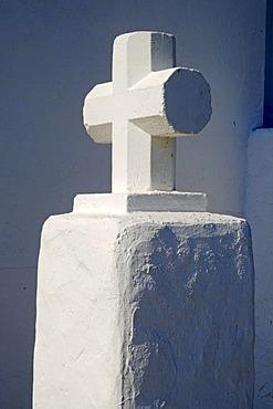 Single white cross, church, monastery, Puig de Missa mountain, Santa Eulalia des Riu, Ibiza, Pityuses, Balearic Islands, Spain, Europe