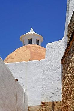 Dome, church, monastery, Puig de Missa mountain, Santa Eulalia des Riu, Ibiza, Pityuses, Balearic Islands, Spain, Europe