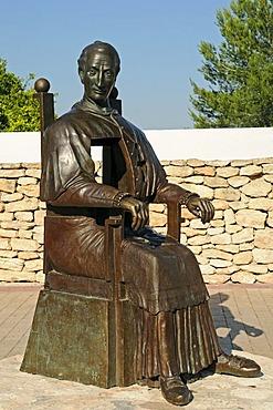 Christian dignitary, church square, sculpture, Saint Gertrude, Ibiza island, Pityuses, Balearic Islands, Spain, Europe