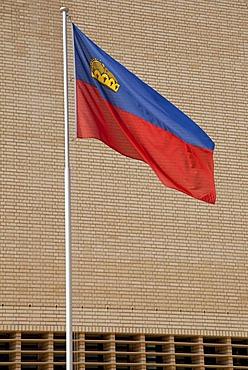 The national flag of Liechtenstein fluttering in front of the parliament building in Vaduz, Principality of Liechtenstein, Europe