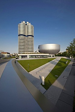 Headquarters of Bayerische Motoren Werke AG, BMW, and the BMW Museum, Munich, Bavaria, Germany, Europe