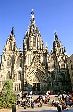La Catedral de la Santa Creu i Santa Eulalia Cathedral, Barri Gotic gothic quarter, Barcelona, Catalonia, Spain, Europe