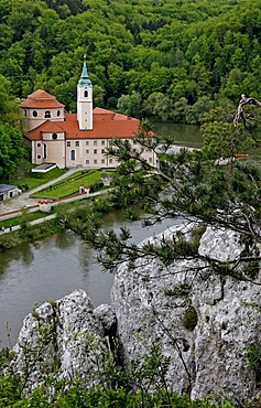 Weltenburg Abbey, the Danube Gorge between Kelheim and Weltenburg, rocks, Danube River, Bavaria, Germany, Europe