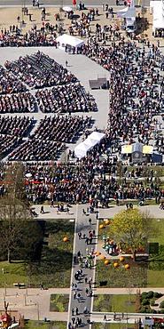 Aerial view, opening of the flower show 2010 in Hemer, Sauerland region, North Rhine-Westfalia, Germany, Europe