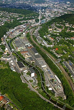 Aerial view, suspended monorail, Bayer Werk plant, Friedrich-Ebert-Strasse street, Selmaweg street, Bayer Schering Pharma AG, a German pharmaceutical company, Wuppertal, North Rhine-Westphalia, Germany, Europe