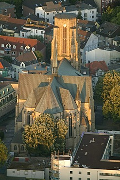 Aerial view, Buer district, Cryatiuskirche church, Gelsenkirchen, Ruhrgebiet area, North Rhine-Westphalia, Germany, Europe