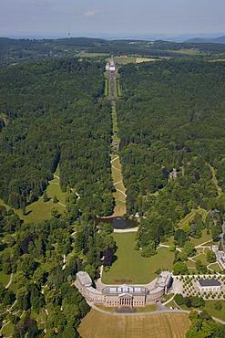 Aerial view, Schloss Wilhelmshoehe Palace, in the distance, Loewenburg, Lions Castle, Bergpark Wilhelmshoehe mountain park, Kassel, Hesse, Germany, Europe