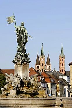 Franconia Fountain, St. Kilian's Cathedral, Wuerzburg, Lower Franconia, Bavaria, Germany, Europe