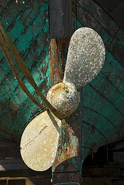 Ship propeller on an old fishing boat in dry dock, port of Hvide Sande, Denmark, Europe