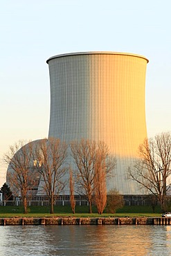 Cooling tower and reactor dome in the evening sun, Biblis nuclear power station on the Rhine, Bergstrasse, Hesse Germany, Europe