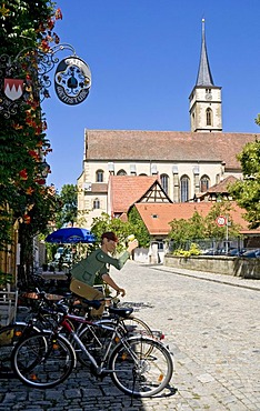 St. Veit's Church seen from Cafe and Weinstube in Iphofen, Lower Franconia, Bavaria, Germany, Europe
