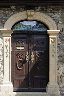 Beautifully designed portal of a house in Goslar, Lower Saxony, Germany, Europe