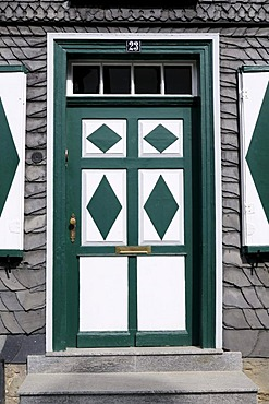 Decorative green and white front door, Goslar, Lower Saxony, Germany, Europe