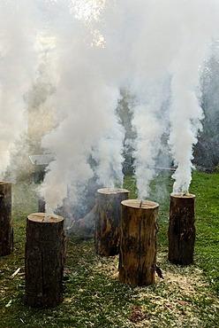 Burning, smoking Swedish torches, flaming torch