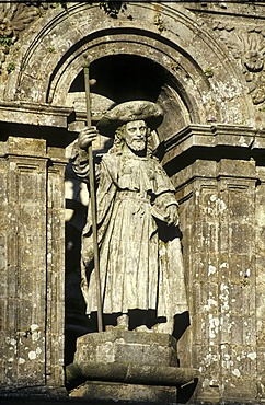 St. James above the gate to the cathedral, Santiago de Compostela, province of Coruna, Spain, Europe