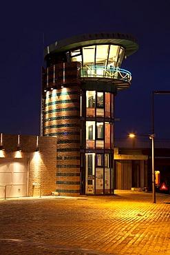 Tower, lock, Neuer Hafen Harbor, Bremerhaven, Bremen, Germany, Europe