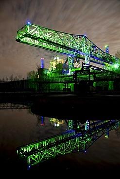 Light installation, night shot, Duisburg Landschaftspark, landscape garden, Route der Industriekultur, German for Route of Industrial Heritage, Duisburg, Ruhr, North Rhine-Westphalia, Germany, Europe