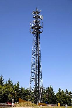 Radio mast on Kappe Mountain, Winterberg, Sauerland, North Rhine-Westphalia, Germany, Europe